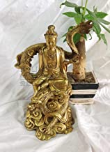 Statue Sculptures Chinese Religious Brass South China Sea Guanyin Riding A Dragon Kwan Yin Buddha Statue