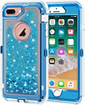 iPhone 8 Plus Case, iPhone 7 Plus Case, Anuck 3 in 1 Hybrid Heavy Duty Defender Case Sparkly Floating Liquid Glitter Protective Hard Shell Shockproof TPU Cover for iPhone 7 Plus /8 Plus - Blue