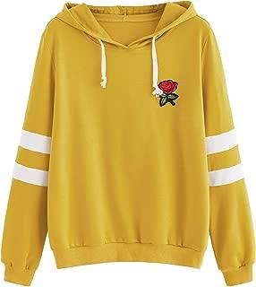 Embroidered Rose Patch Stripe Sleeve Hoodie Sweatshirt