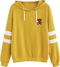 DIDK Embroidered Rose Patch Stripe Sleeve Hoodie Sweatshirt