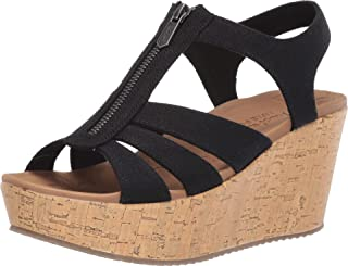 Skechers Women's Brit-Zipper Wedge Quarter Strap Sandal