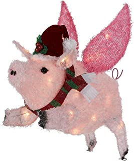 Holiday Time Light Up Flying Pig Yard Décor – Light Up Piggy Christmas Decoration - 26 Inches Tall