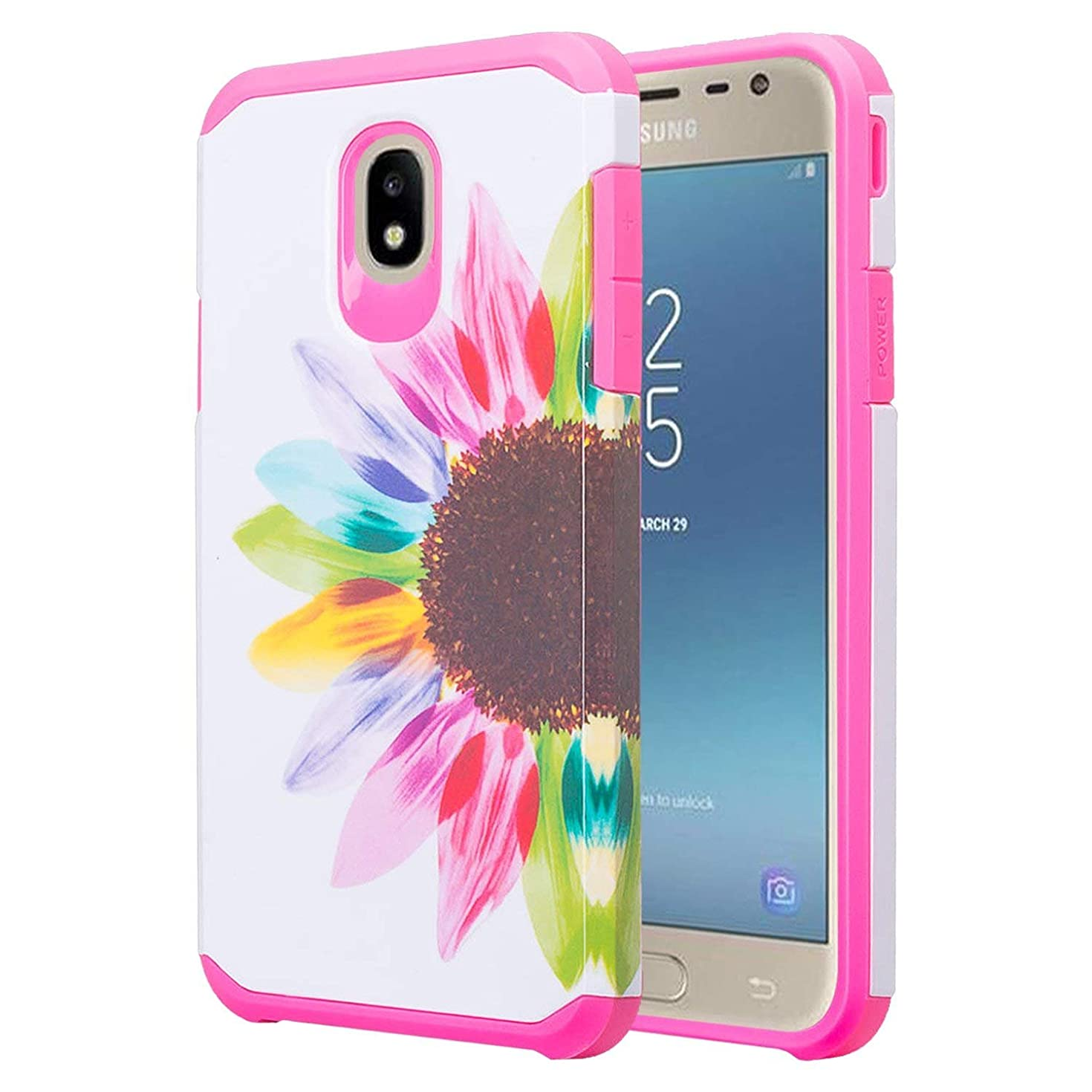 J7 Star Case, Phonelicious Samsung Galaxy J7 Refine, J7V 2nd Gen, J7 2018 Phone Cover Dual Layer Hybrid Slim Fit Screen Protector (Sun Flower)