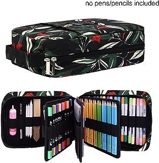 202 Colored Pencils Pencil Case - 136 Color Gel Pens Pen Bag or Marker Organizer - Universal Artist Use Supply Zippered Large Capacity Slot Super Big Professional Storage qianshan Leaf