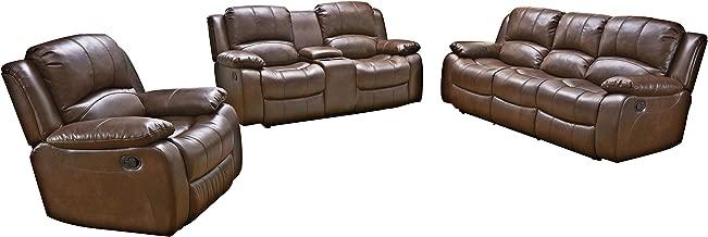 Betsy Furniture 3PC Bonded Leather Recliner Set Living Room Set, Sofa Loveseat Chair Pillow Top Backrest and Armrests 8018 (Brown, Living Room Set 3+2+1)