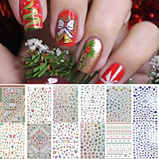 12 Sheets Christmas Nail Art Stickers Decals for Women Kids, Kalolary 3D Design Self-adhesive Stickers DIY Nail Art Tips Stencil for Christmas Party Nail Decorations Accessories