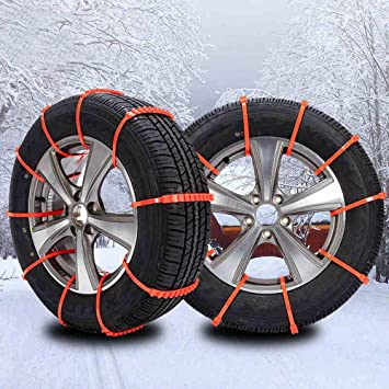 Jeremywell Universal Snow Tire Chain for Car Truck SUV - Anti-Skid Emergency Winter Driving Tire Cable Belts Fit Tire Wheel Widths 175-295 Orange (10 Pieces): image