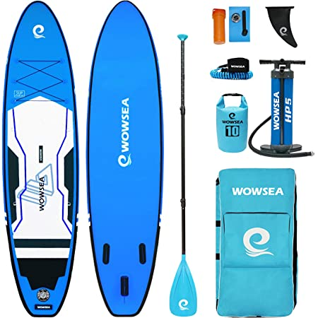 "WOWSEA Trophy T1 サップ インフレータブル スタンドアップパドルボード 11'(335cm)×32""(80cm)×6""(15cm) 安定性 SUPボード ヨガ 釣り 海 夏 セット ブルー"