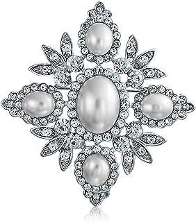 Bling Jewelry Nuziale Bianco Cristallo Moda Perla Simulata Grande Fiore Foglia Spilla Pin per Donne per La Madre Placcato ...
