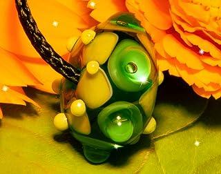 Perla Pireta, Perla in vetro di Murano, Perla Verde smeraldo, Cordino con nodo regolabile, ipoallergenico, Fatto a mano, H...