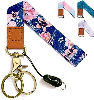Wrist Lanyards Key Chain Holder Premium Quality Wristlet Lanyard Keychain for Women (Dark Blue Flowers)