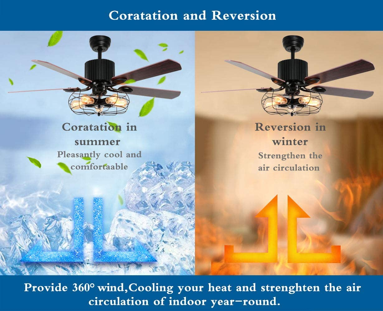 Buy Luxurefan Retro Industrial Ceiling Fan Light For Restaurant Living Room With Create Iron Cage Cover Pull Chain Remote And 5 Reversible Wood Leaves 52inch Online In Vietnam B072wnvtpl