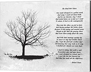 Robert Frost The Road Not Taken Canvas Art Wall Picture, Museum Wrapped with Black Sides, 20 x 16 inches
