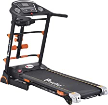 Powermax Fitness TDM-105M 2 HP/4 HP Peak Motorized Treadmill with Semi Auto Lubrication, Massager, Dumbbells, Sit up and Twister - Black