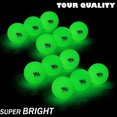 R&L Glow Golf Balls for Night Sports - Tournament Fluorescent Glowing in The Dark Golf Ball - Long Lasting Bright Luminous Balls