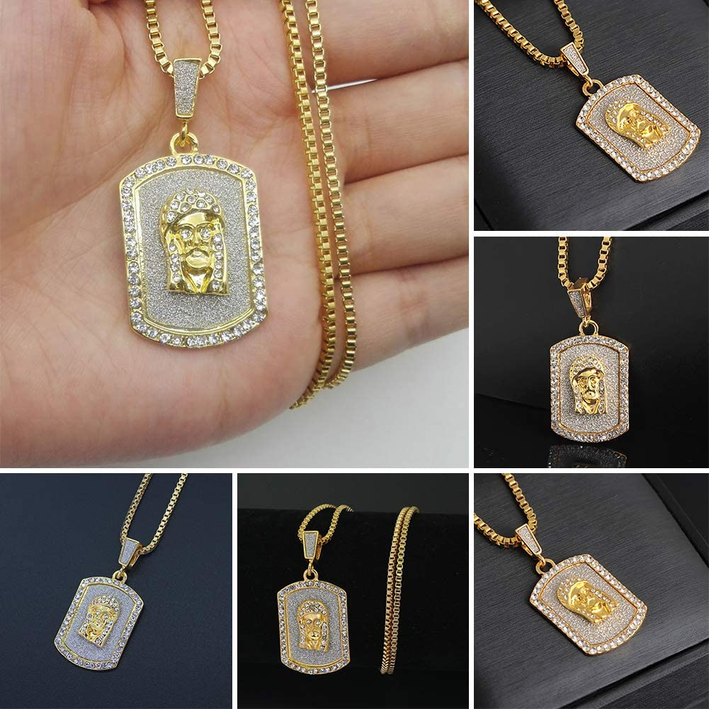 ywbtuechars Cool Hip Hop Rhinestone Necklace Army Tag Pharaoh Pendant Long Chain Jewelry