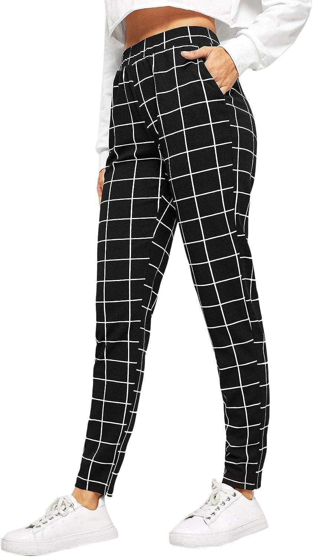 SweatyRocks Women's Pants Casual High Waist Skinny Leggings Stretchy Work Pants