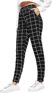 Women's Casual Plaid Leggings Stretchy Work Pants