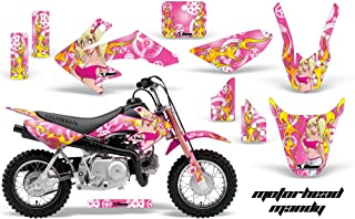 AMR Racing MX Dirt Bike Graphic Kit Sticker Decals Compatible with Honda CRF50 2004-2013 - Motorhead Mandy Pink