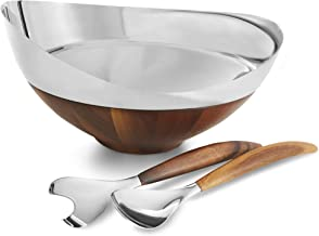 Nambè MT1191 Nambe Pulse Collection Salad Bowl with Servers, 13.66 Inches, Alloy