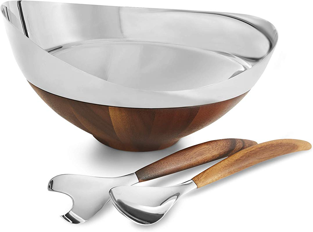 Namb MT1191 Nambe Pulse Collection Salad Bowl With Servers 13 66 Inches Alloy