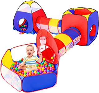 5pc Baby Ball Pits for Toddlers, Kids Play Tent and Play Tunnel, Children Indoor Outdoor Playhouse with Crawling Toys, Boy...