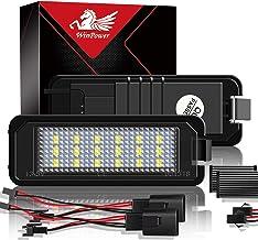 WinPower LED Luces de matrícula para coche Lámpara Numero plato luces Bulbos 3582 SMD con CanBus No hay error 6000K Xenón Blanco frio para Golf MK4 MK5 MK6 etc, 2 Piezas