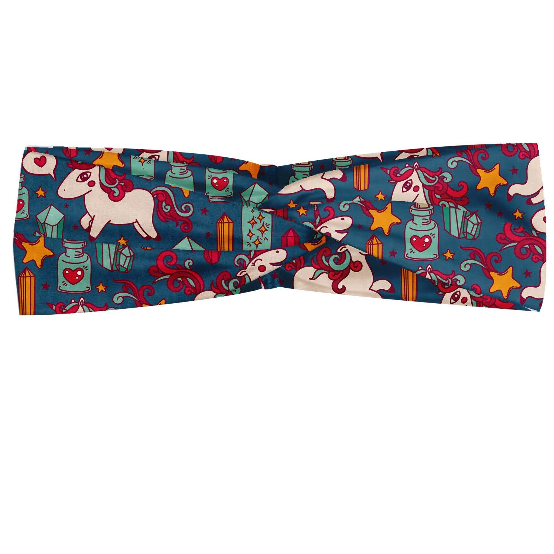 Ambesonne Unicorn Headband, Happiness Stars Hearts Rainbows Doodle Style Magic Cartoon Image, Elastic and Soft Women's Bandana for Sports and Everyday Use, Multicolor