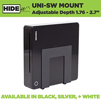 HIDEit Uni-SW (Black) Mount - Adjustable Small + Wide Device Wall Mount for Cable Boxes, Wireless Routers, Media Play...
