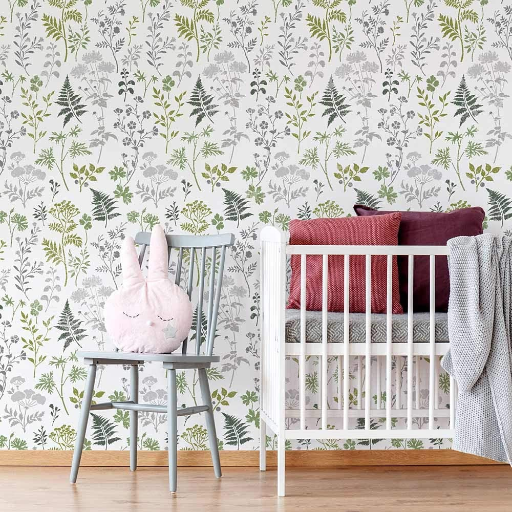 Woodlands Botanical Stencil for Japan's largest Ranking TOP18 assortment Wall Nursery Stencils –