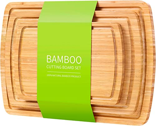 Bamboo Cutting Board Set of 3, Chopping Boards Set for Kitchen - Pre-Oiled Wood Serving Charcuterie Tray with Juice Groove