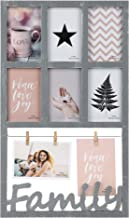 VESKAOTY Collage Familly Picture Frame 13x22 - Display 4x6,13x9 Seven Openings with Mat or Clips - Grey Photo Frame - 3 Options