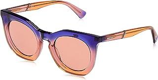 نظارة شمسية للنساء DL028383G49 من ديزل بلون بنفسجي/بني مرآة- بلاستيك