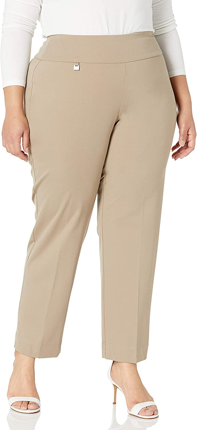 SLIM-SATION Women's Plus Size Pull-on Solid Ease-y-fit Knit Ankle Pant