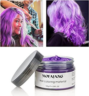 MOFAJANG Hair Color Wax Instant Hair Wax Temporary Hairstyle Cream 4.23 oz Hair Pomades Natural Hairstyle Wax for Men and Women (Purple)
