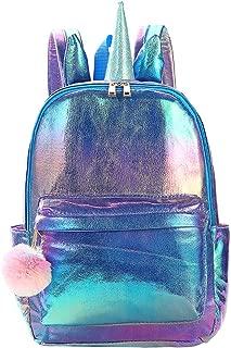 Backpack Unicorn School Bag Cute Laser PU Bookbag for Women Girls - Purple