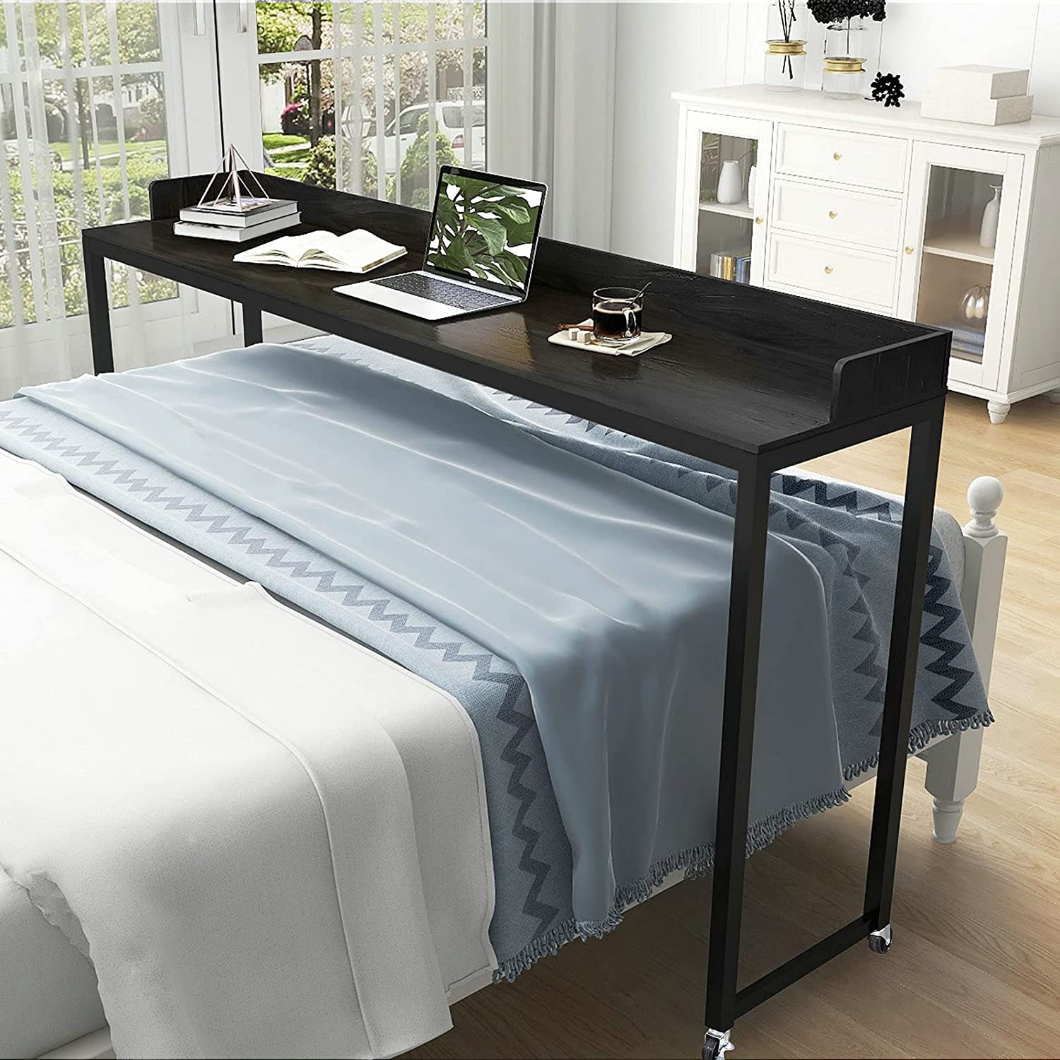 LUMISOL Ultra-Cheap Deals Overbed Table with Wheels H Price reduction Desk Queen Size Mobile