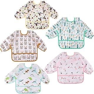 Lakobos Baby Bibs with Sleeves - 5 Pieces Unisex Feeding Bibs Anti-Dressing Bibs Baby Drool Bibs Painting Apron Bibs for I...