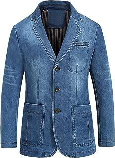 Mordenmiss Men's Denim Sport Coat Distressed Work Blazer Three-Buttons Jeans Outwear