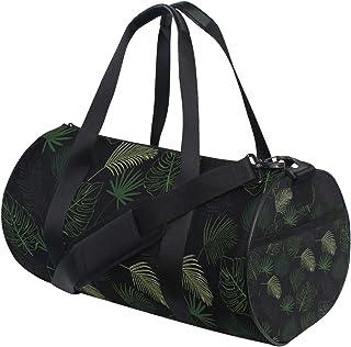Dunkelgrüne Blätter Barrel Duffle Turnbeutel für Damen und Herren, Reisen, Sport, Camping, Tanz, Schultertaschen