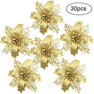 RUBFAC 30pcs Glitter Poinsettia Christmas Tree Ornaments 3.9 Inches Artificial Christmas Flowers for Christmas Tree Wreath Decorations (Gold)