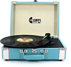 VMO 3 Speed Suitcase Turntable with Speakers,Portable Vinyl Record Player with RCA Output&Aux Input and Headphone Jack,Sky-Blue