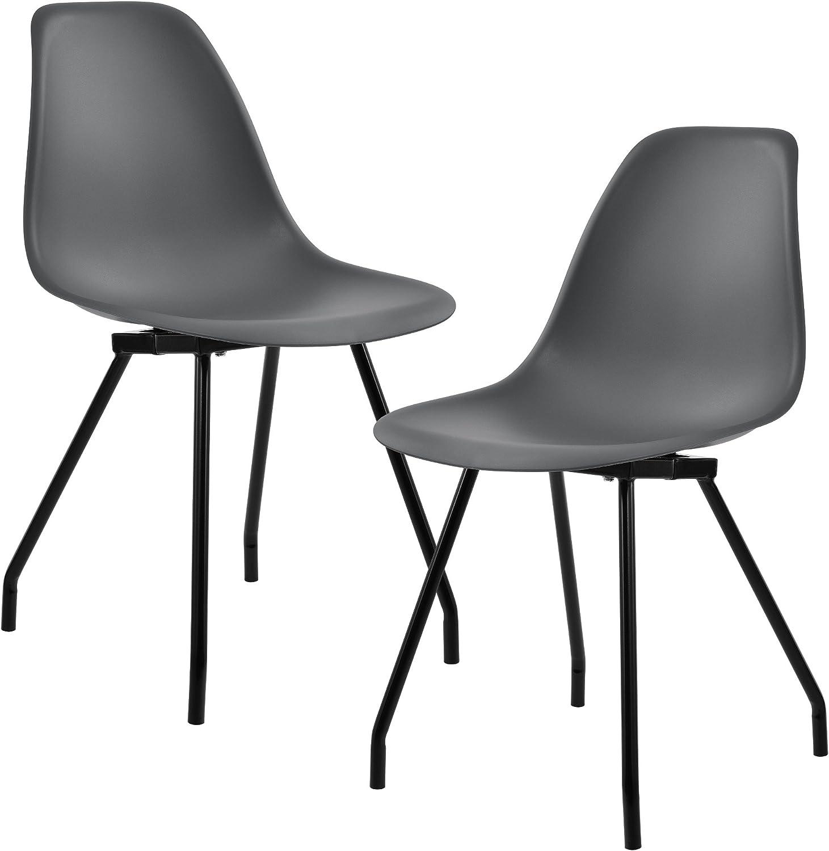 [en.casa] 2er-Set Design Esszimmerstuhl 83 x 46cm Dunkelgrau Stuhl Stühle Esszimmerstühle Wohnzimmerstuhl