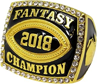 Decade Awards 2018 Gold Fantasy Football Champion Ring with Rhinestone Border | Heavy FFL League Champ Ring with Stand