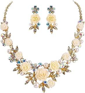 EVER FAITH Women's Austrian Crystal Simulated Pearl Rose Flower Leaf Necklace Earrings Set