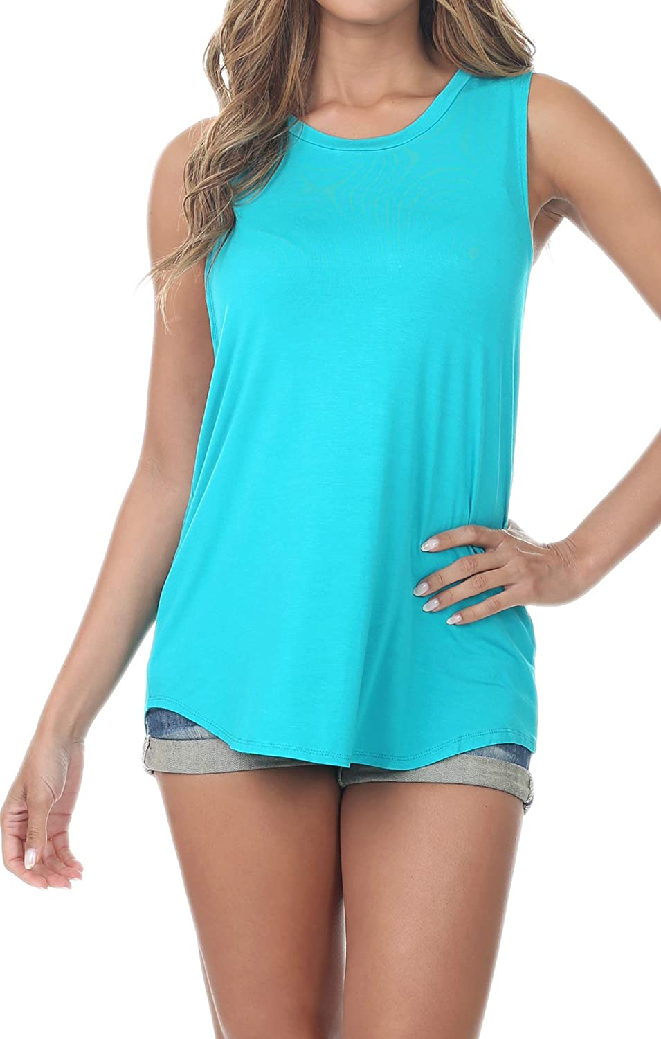 Re.Born Womens Classic Sleeveless Wide Armhole Relaxed Muscle Tee Tank Top & Tunic 19 colors [XS to 5XL]