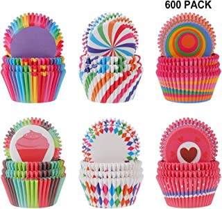 evebel 600-Pack Holiday Party Mini Paper Baking Cups - Paper Grease Proof Rainbow Baking Cups 6 Styles Cupcake Liners Perfect Cups for Cake Balls, Muffins, Cupcakes, and Candies