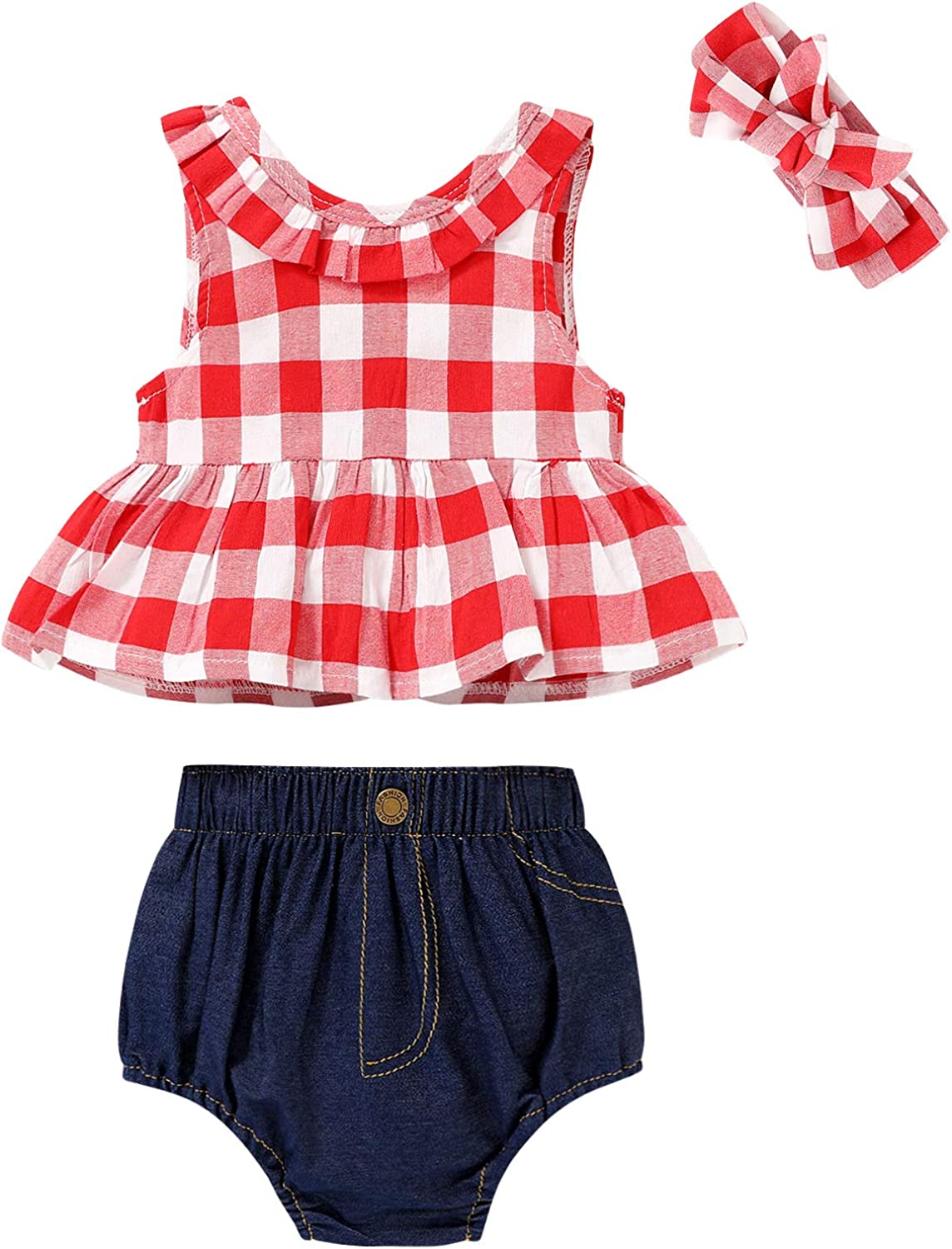 SWNONE Infant Toddler Girls Summer Clothes Outfit Plaid Ruffle Bowknot Shirts Top+Jeans Shorts +Headband Set