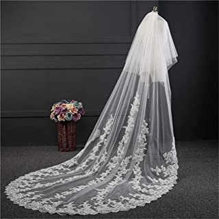 Wedding Accessories Cathedral Wedding Veil White Ivory Bridal Veils Mantilla Wedding Veil Lace Edge Bride Veil With Comb 3...