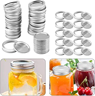 24 Sets Canning Lids and Bands for Regular Mouth Mason Jars - Leakproof Storage Can Covers Caps and Rings Disc with Silico...